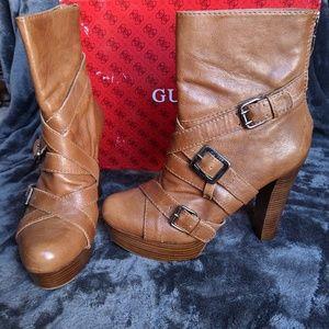 Guess cognac leather buckle boots sz 10 EUC